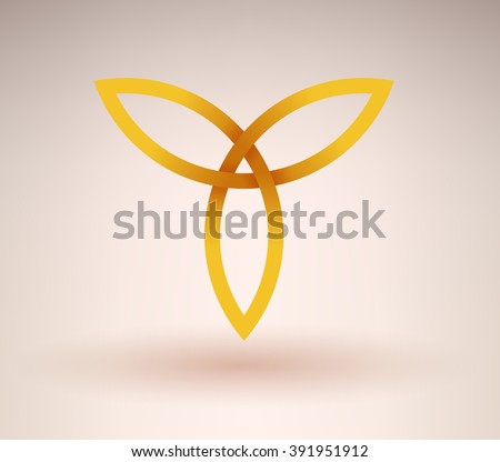 Abstract golden occult symbol with three directions - stock vector