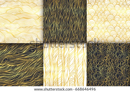 Abstract golden seamless pattern set. Waves, curly lines, spiral, stripes, scale ornament. Universal basic background. Shining luxury glamour vector illustration