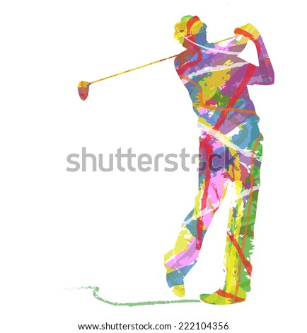 abstract golfer - stock vector