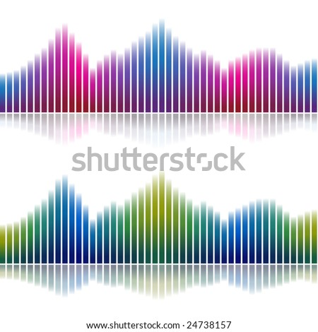 Abstract gradient charts with reflection - stock vector