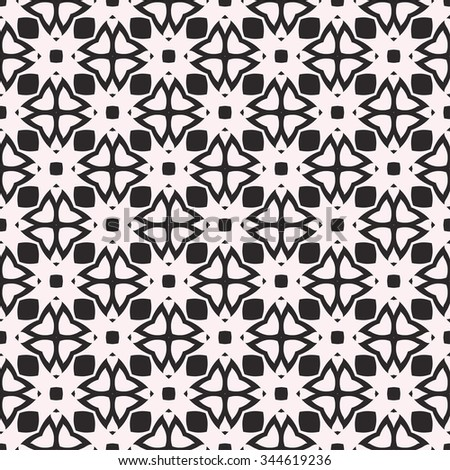 Abstract graphic background, seamless pattern. Repeating fabric texture, simple geometric shapes, arabic, indian ornament. Black and white vector illustration.
