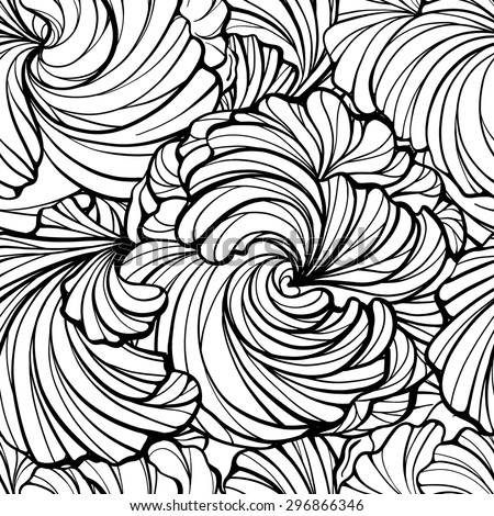 Abstract graphic black and white flowers vector seamless pattern - stock vector