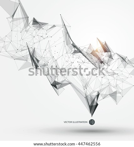 Abstract graphic consisting of points, lines and connection, Internet technology. - stock vector