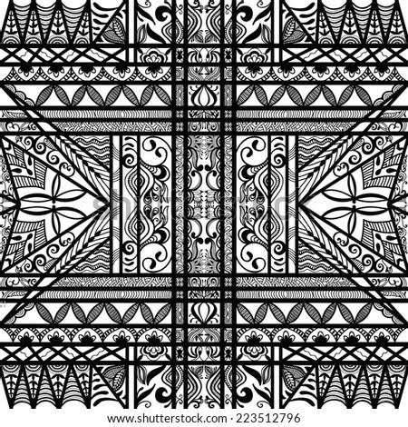 Abstract graphic pattern hand drawn floral and geometric ornament, seamless texture, black and white vector illustration - stock vector