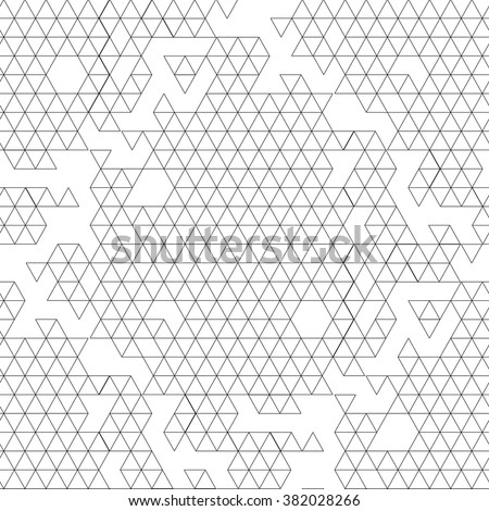 Abstract graphic seamless pattern with triangles drawn in line art style.  Coloring book page design for adults and kids - stock vector