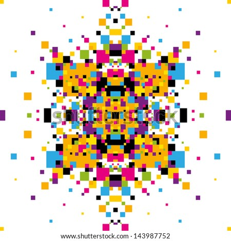 Abstract graphic with colorful geometric elements. Vector illustration. - stock vector