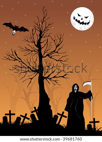 abstract graveyard background with vampire, retro tree