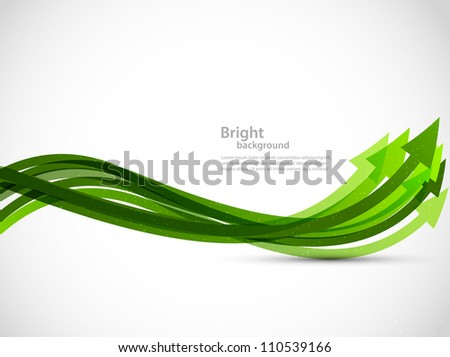 Abstract gray background with green arrows - stock vector