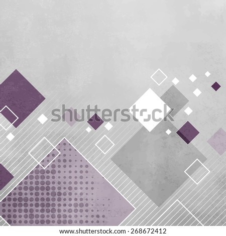 Abstract gray geometric background with purple squares - stock vector