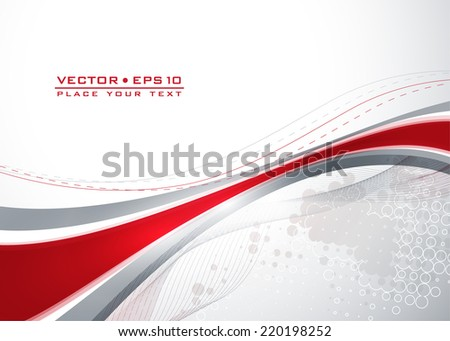 Abstract gray template with red wavy lines. Vector - stock vector