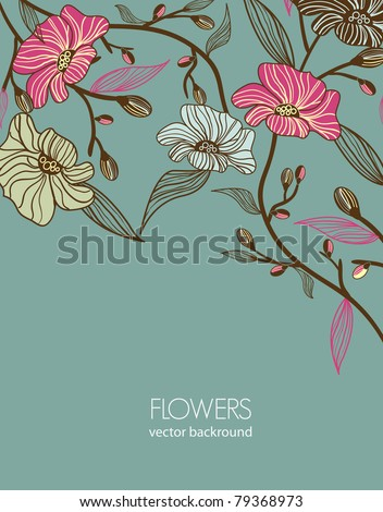 Abstract gray vector background with drawing flowers