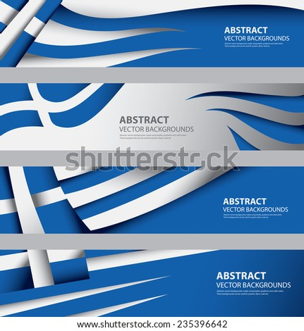 Abstract Greek Flag, Greece National Color Infographics Background (Vector Art) - stock vector