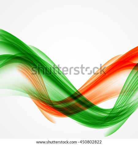 Abstract Green and Orange Wave on White Background. Vector Illustration. EPS10