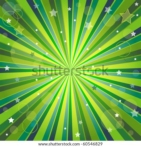 Abstract green and yellow background with rays, stars and balls (vector,  eps10,) - stock vector