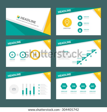 Abstract green and yellow multipurpose presentation brochure flyer template flat design set  - stock vector