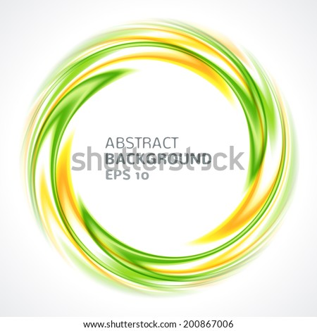 Abstract green and yellow swirl circle bright background. Vector illustration for you modern design. Round frame or banner with place for text. - stock vector