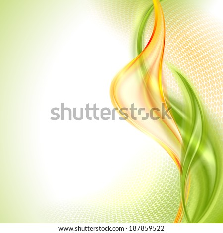 Abstract green and yellow wave background - stock vector