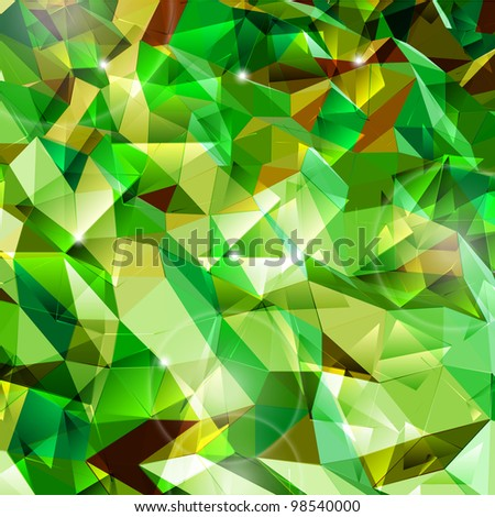 Abstract green background. Combination of triangle. Vector - stock vector