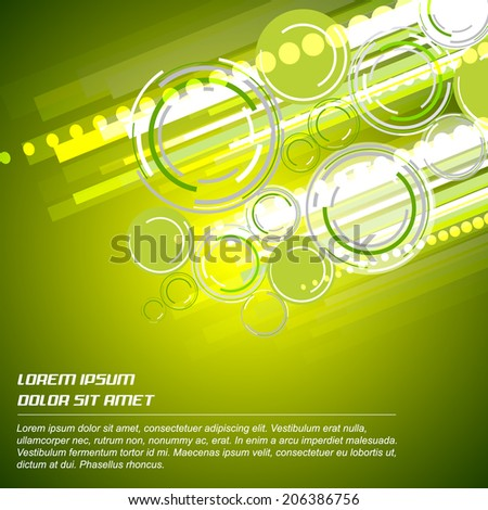 Abstract green background with circular elements/design with place for your content, print or pc desktop/vector illustration
