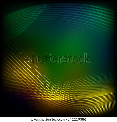 Abstract green background with green and yellow lines - stock vector
