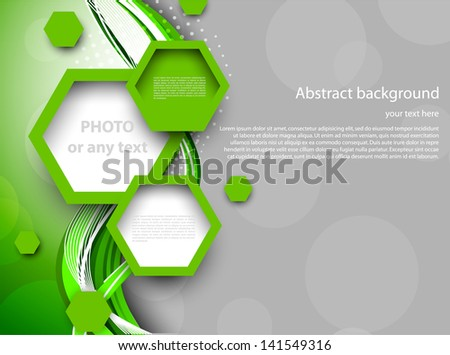 Abstract green background with hexagons - stock vector