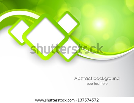Abstract green background with squares - stock vector