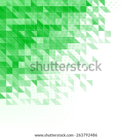 abstract green background with triangles, squares and lines - stock vector