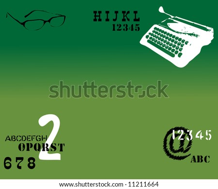 Abstract green background with white typewriter shape, numbers and glasses - stock vector