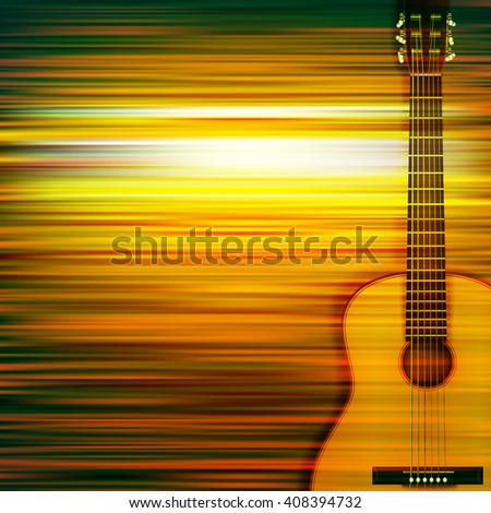 abstract green blur music background with acoustic guitar