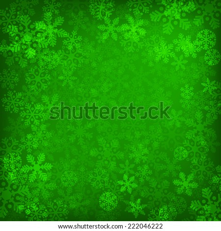 Abstract green christmas background with snowflakes - stock vector