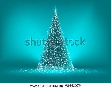 Abstract green christmas blue on blue background. EPS 8 vector file included - stock vector