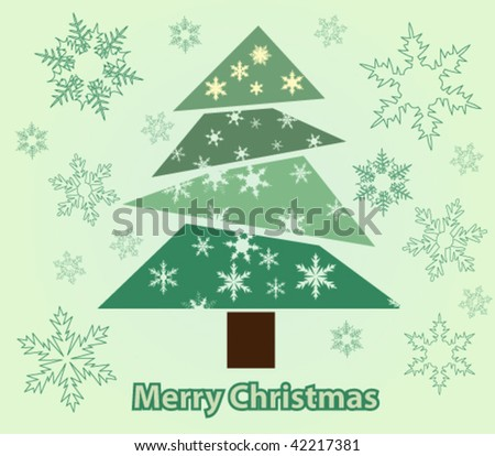 Abstract green christmas tree with snowflakes