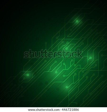 abstract green circuit digital technology texture pattern design background