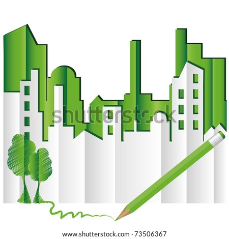 Abstract green city. Eco world - stock vector