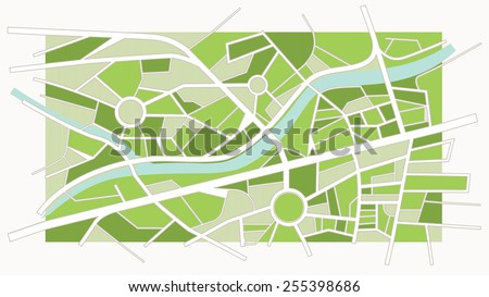 Abstract green city map with river, streets and roundabouts - stock vector