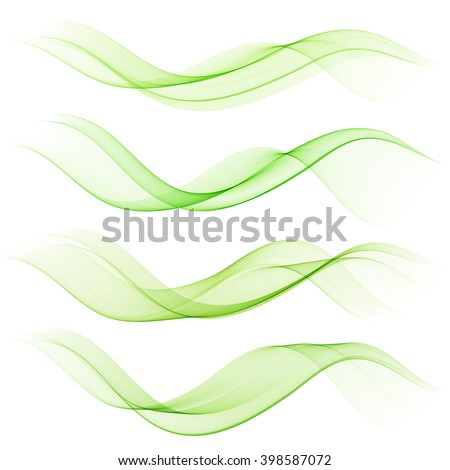 Abstract green color wave design element. Set Green wave - stock vector