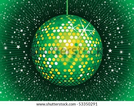 abstract green disco ball vector illustration - stock vector