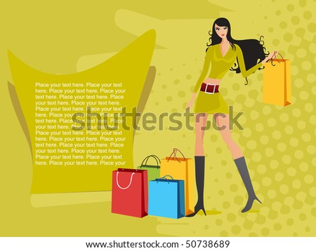 abstract green dotted background with sexy girl, colorful shopping bag - stock vector