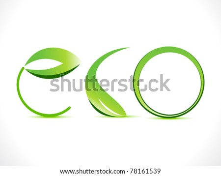 abstract green eco text  vector illustration - stock vector