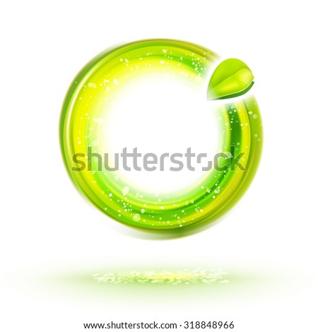 Abstract green energy circle label with leaf. Natural food identity idea. Ecology design illustration. Healthy icon.  - stock vector