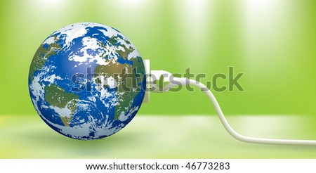 abstract green energy concept with blue Earth - stock vector