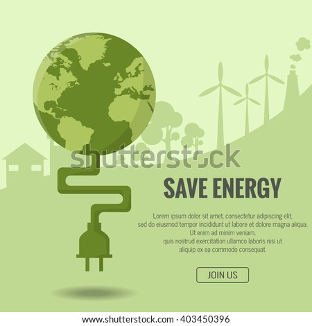 Abstract green energy concept with green Earth and plug,  Elements of this image furnished by NASA - stock vector