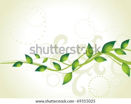 abstract green floral pattern background, illustration - stock vector
