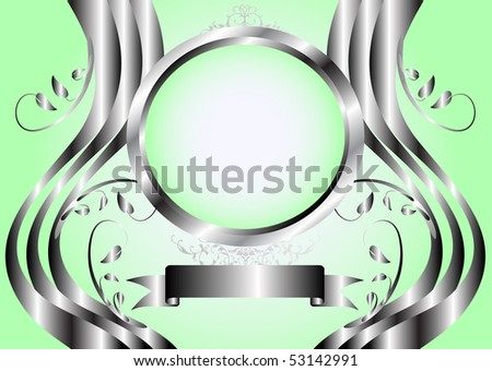 Abstract green floral  vector background with a silver floral frame on a green graduated background with room for text
