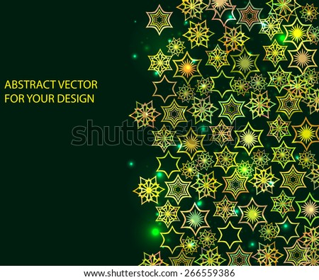abstract green framework with flowers for your design. Summertime vector - stock vector