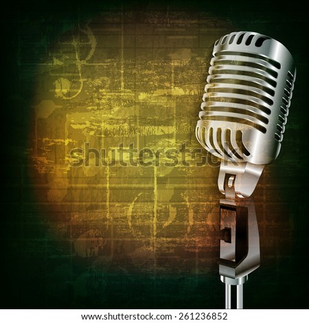 abstract green grunge music background with retro microphone - stock vector