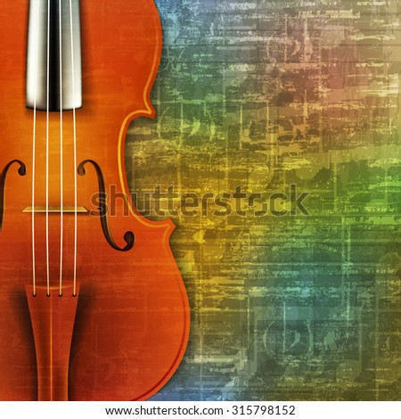 abstract green music grunge background with violin vector illustration - stock vector