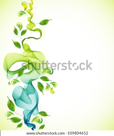 Abstract green natural  background with wave, vector illustration - stock vector