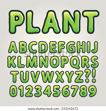 Abstract Green Nature Alphabet and Numbers, Editable eps10 Vector - stock vector