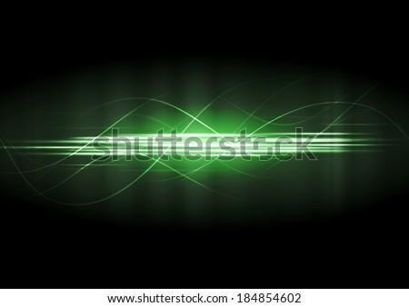 Abstract green neon lines vector background - stock vector